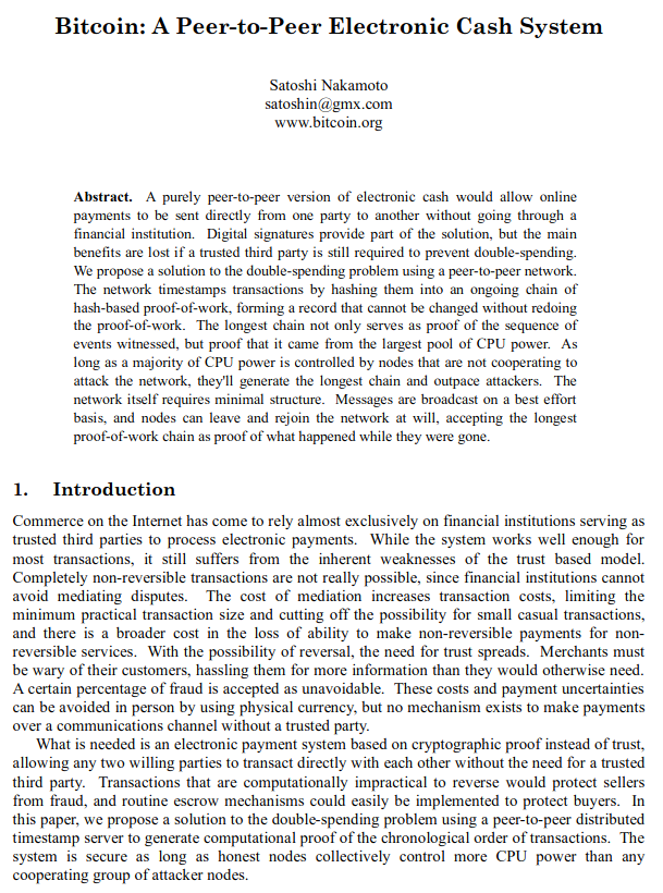 Bitcoin Whitepaper von Satoshi Nakamoto
